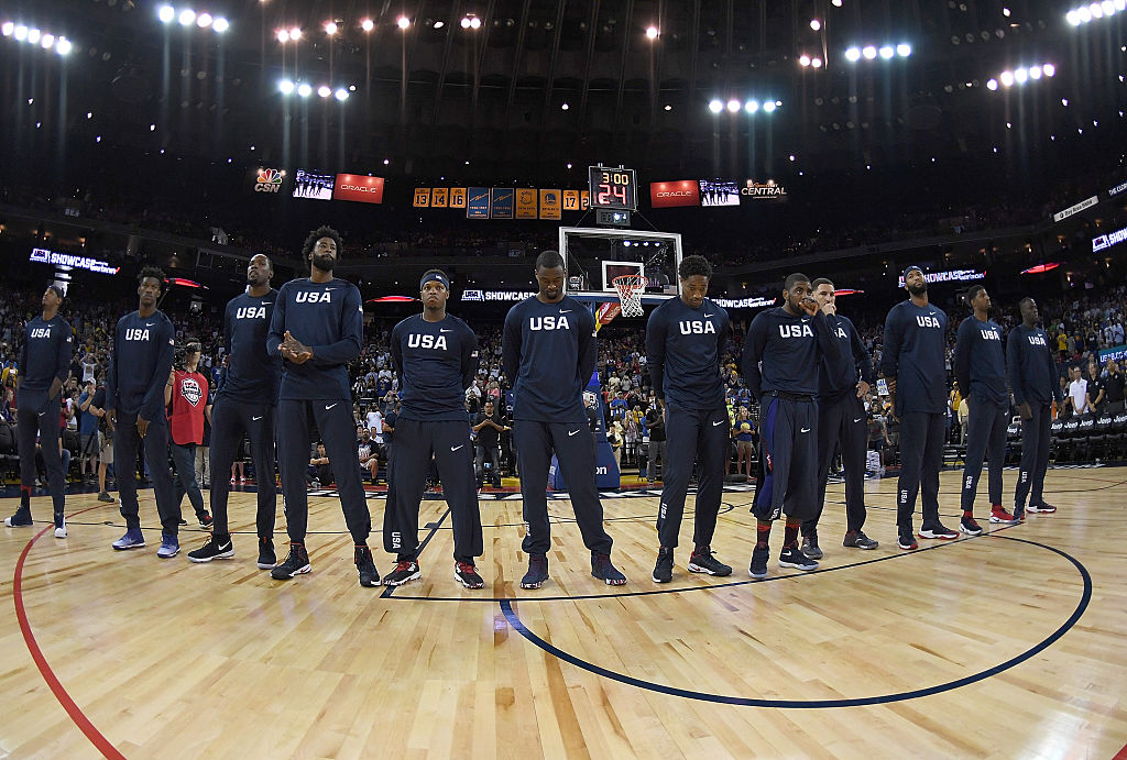 The United States Men's National Basketball Team stands together during the playing of the National Anthem prior to playing the China Men's National Team. (Photo by Thearon W. Henderson/Getty Images)