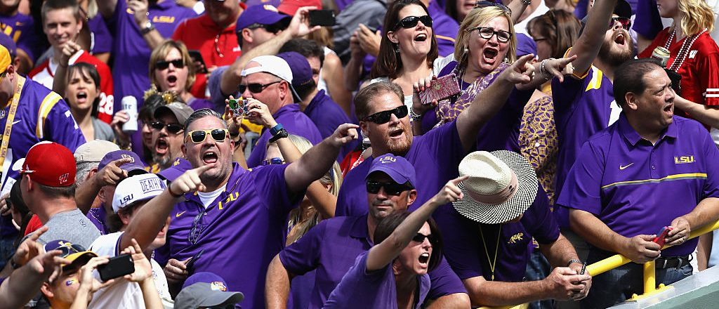 LSU fans at Lambeau Field for their season opener against Wisconsin on September 3, 2016. (Photo credit: Getty Images)