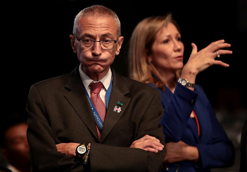 John Podesta looks on prior to the start of the Presidential Debate at Hofstra University on September 26, 2016 (Getty Images)