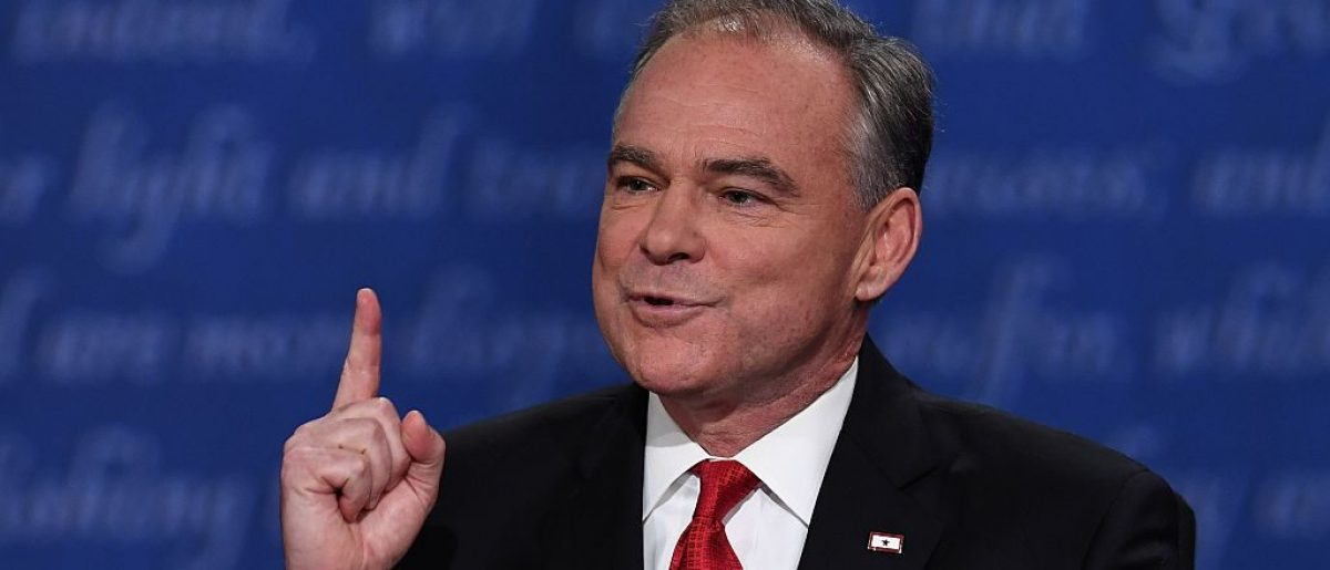 Democratic candidate for Vice President Tim Kaine gestures during the vice presidential debate at Longwood University in Farmville, Virginia on October 4, 2016. / AFP / Jewel SAMAD        (Photo credit should read JEWEL SAMAD/AFP/Getty Images)