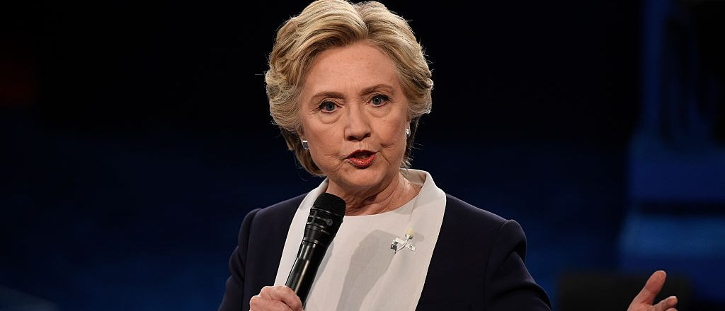 Democratic nominee Hillary Clinton speaks during the second presidential debate at Washington University in St. Louis, Missouri on October 9, 2016. / AFP / POOL / SAUL LOEB (Photo credit should read SAUL LOEB/AFP/Getty Images)