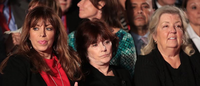 Paula Jones, Kathleen Willey and Juanita Broaddrick watch the town hall debate at Washington University on October 9, 2016 in St Louis, Missouri. (Photo by Scott Olson/Getty Images)