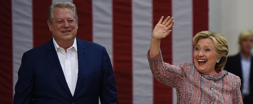 Hillary Clinton and Former Vice President Al Gore arrive for a climate change event at Miami Dade College-Kendall Campus in Miami, Florida (Getty Images)