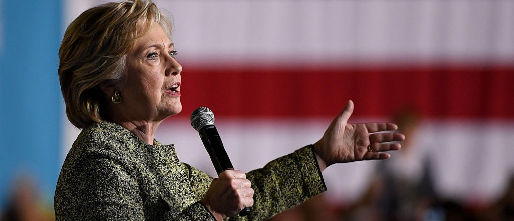 Hillary Clinton speaks during a campaign rally at The Smith Center for the Performing Arts on October 12, 2016 in Las Vegas (Getty Images)