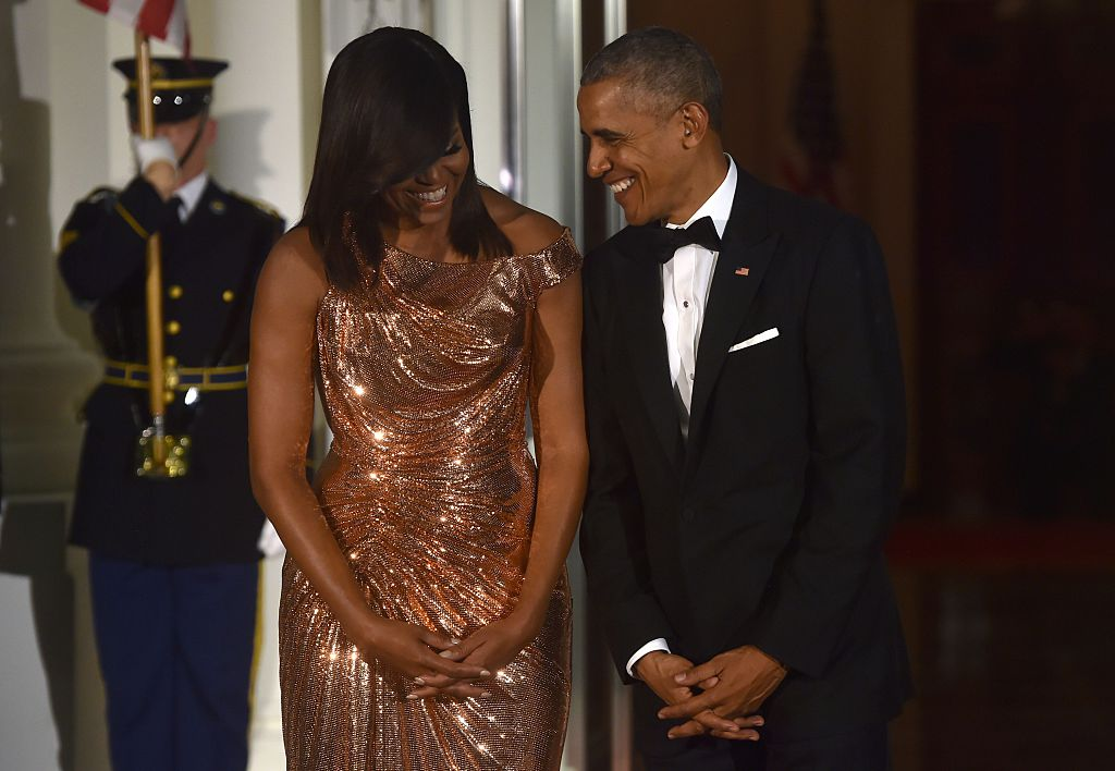 Michelle Obama Stuns in Sparkles at Final State Dinner