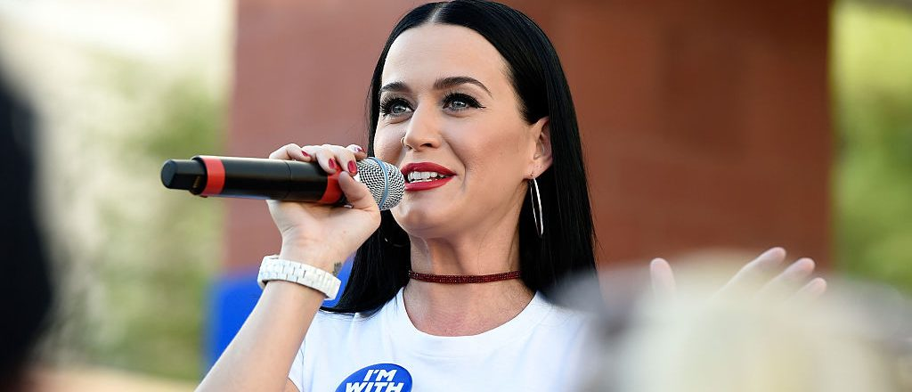 Singer Katy Perry speaks during a get out the early vote rally as she campaigns for Democratic presidential candidate Hillary Clinton at UNLV on October 22, 2016 in Las Vegas