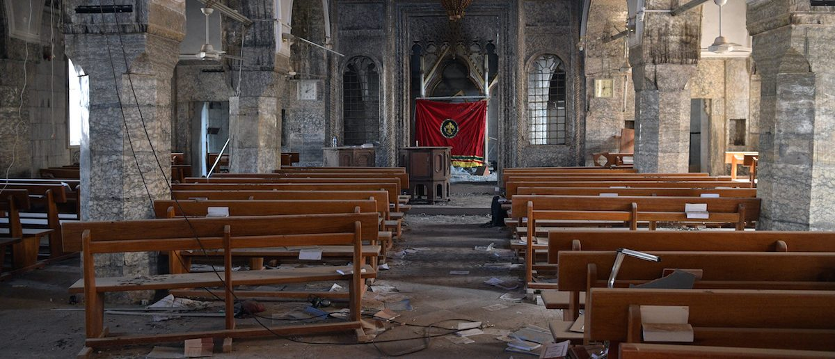 A church that was partially destoyed by Islamic State is pictured during the offensive to recapture the city of Mosul from Islamic State militants, on October 23, 2016 in Bartella, Iraq. (Carl Court/Getty Images)