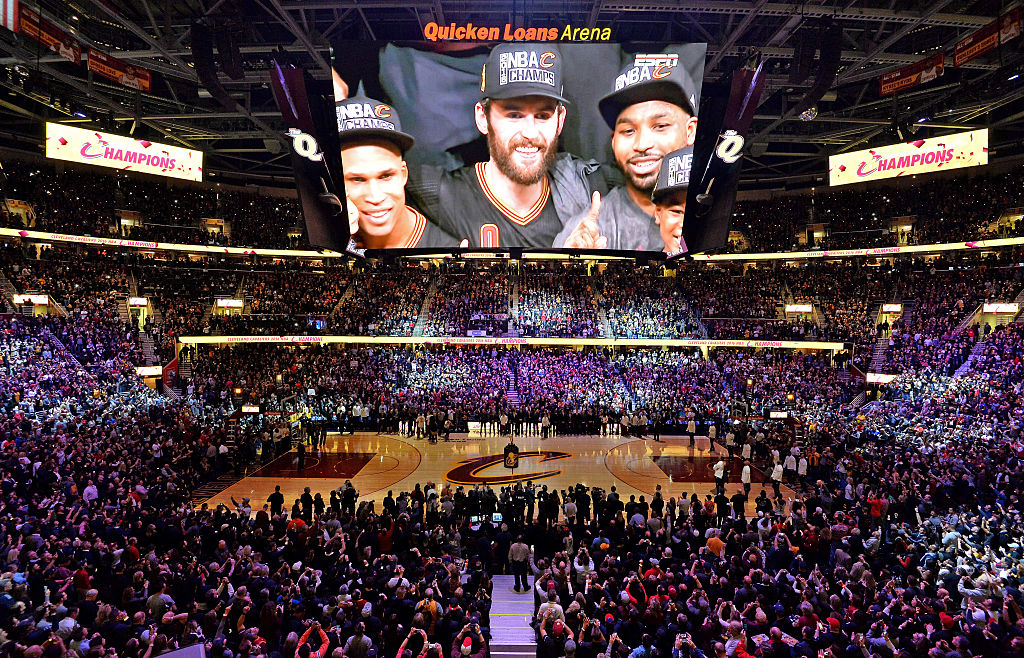 A view of the crowd as the Cleveland Cavaliers championship banner is raised before the game against the New York Knicks at Quicken Loans Arena on October 25, 2016 in Cleveland, Ohio. (Photo by Jamie Sabau/Getty Images)