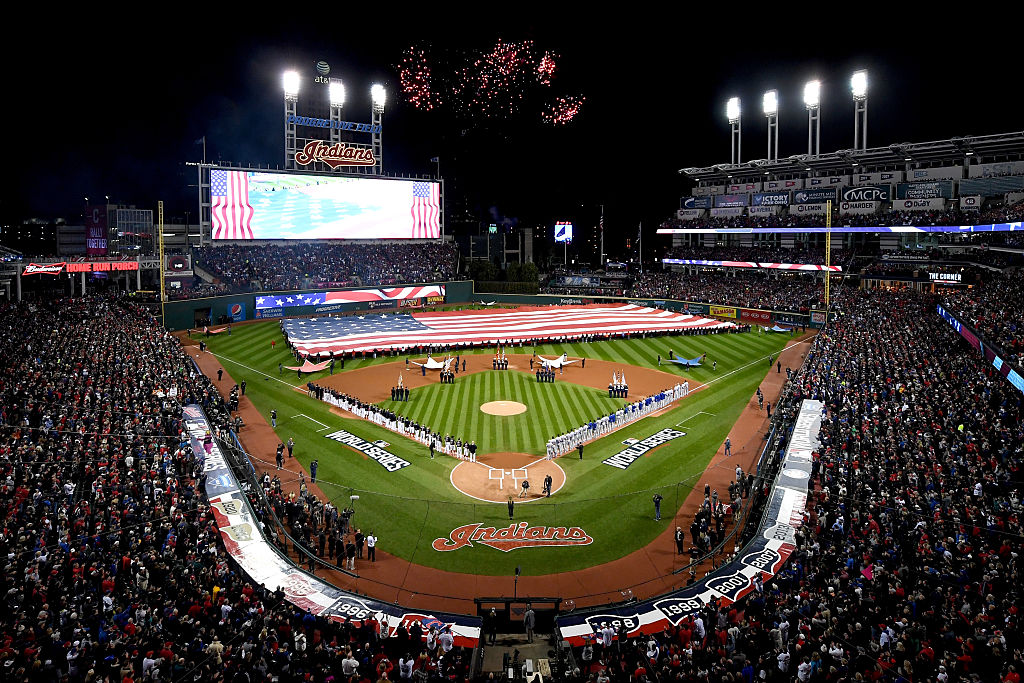 The Cleveland Indians and the Chicago Cubs set to play Game One of the 2016 World Series at Progressive Field on October 25, 2016 in Cleveland, Ohio. (Photo by Jason Miller/Getty Images)