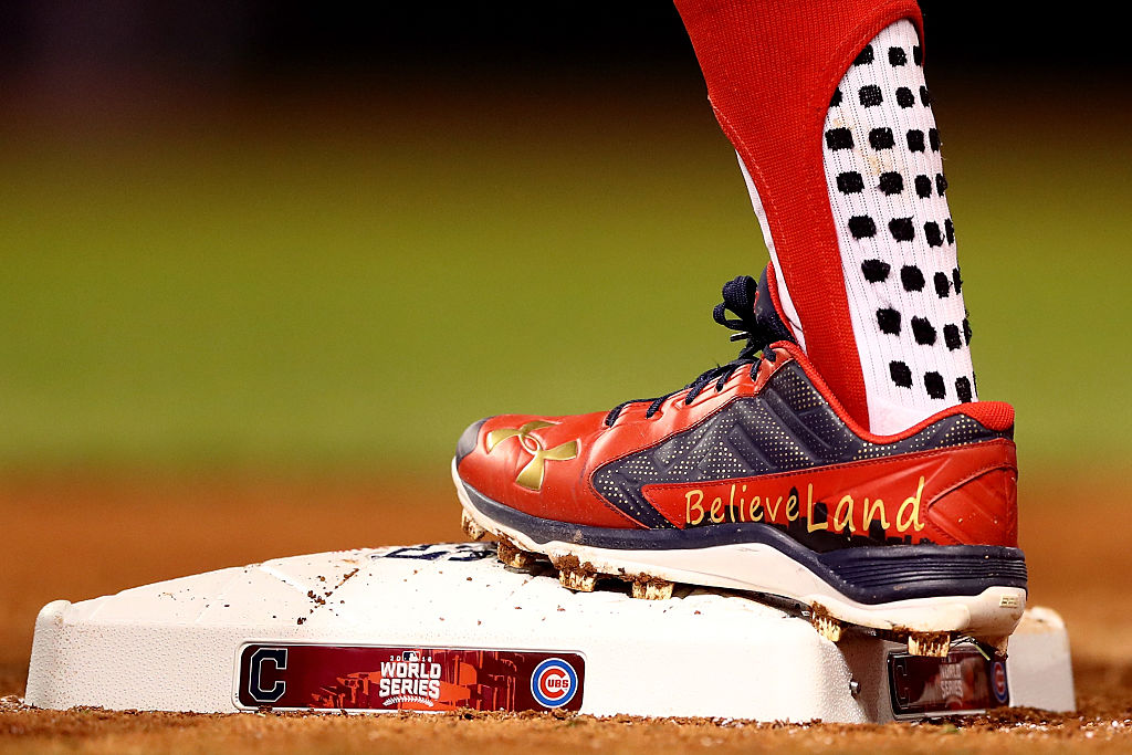 "Francisco Lindor #12 of the Cleveland Indians cleats sporting the city's new nickname ""BelieveLand"" in Game One of the 2016 World Series. (Photo by Elsa/Getty Images)"