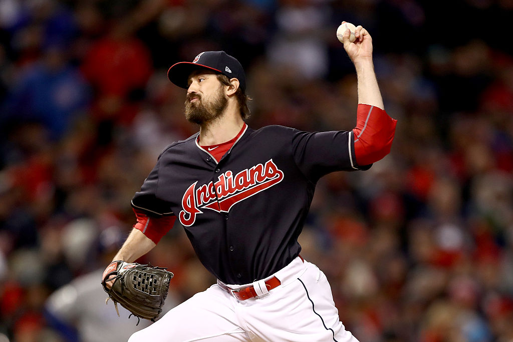 Andrew Miller #24 of the Cleveland Indians throws a pitch during the seventh inning against the Chicago Cubs in Game One of the 2016 World Series. (Photo by Elsa/Getty Images)