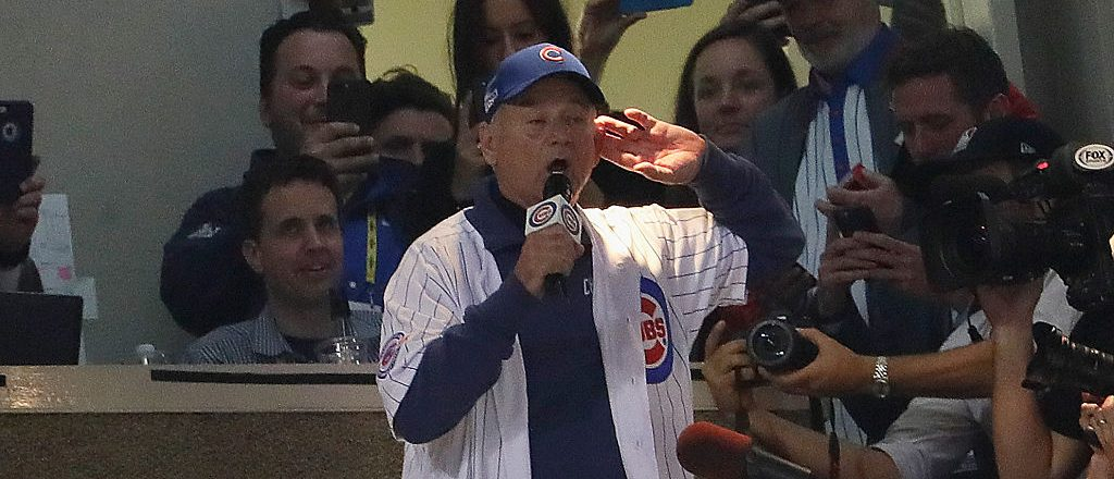 """Actor Bill Murray sings """"Take Me Out to the Ballgame"""" in the seventh inning in Game Three of the 2016 World Series between the Chicago Cubs and the Cleveland Indians at Wrigley Field on October 28, 2016 in Chicago, Illinois. (Photo by Jamie Squire/Getty Images)"""