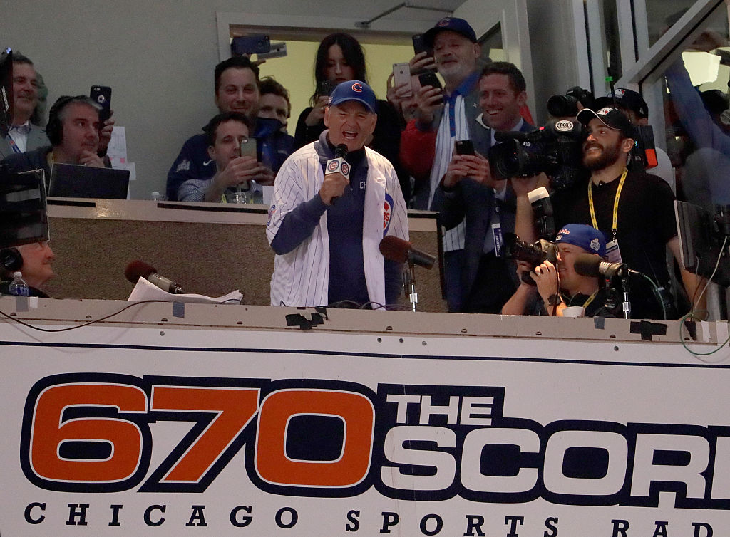 Bill Murray gets the crowd going in Game Three of the 2016 World Series at Wrigley Field (Photo credit: Getty Images)
