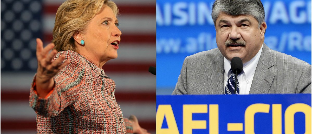 Hillary Clinton: Lucy Nicholson/Reuters, Richard Trumka, AFL-CIO: Kevork Djansezian/Reuters