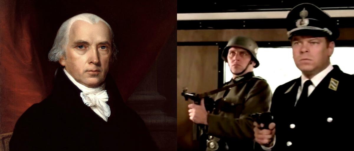 James Madison portrait by John Vanderlyn/public domain, YouTube screenshot/Movieclips