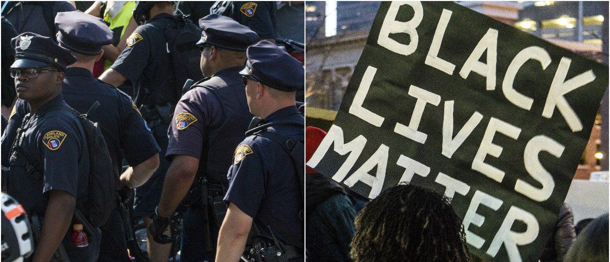 Police Officers: John McGraw/Shutterstock.com, Black Lives Matter: Brent Olson/Shutterstock.com
