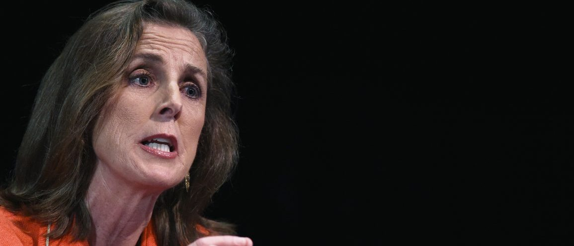 Katie McGinty speaks on stage during the final debate among the democratic gubernatorial candidates vying for the chance to challenge incumbent Pennsylvania Gov. Tom Corbett in the November election at Drexel University's Mandell Theater in Philadelphia, Pennsylvania, May 12, 2014. REUTERS/Mark Makela