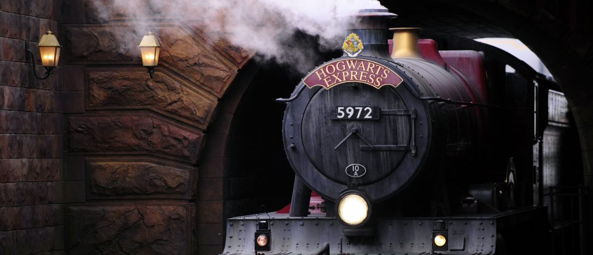 The Hogwarts Express train, which connects the Universal Studios with neighboring Islands of Adventure, pulls into the Hogsmeade Station during a media preview for The Wizarding World of Harry Potter-Diagon Alley at the Universal Orlando Resort in Orlando, Florida June 19, 2014. REUTERS/David Manning