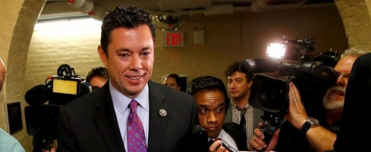 U.S. Representative Jason Chaffetz (R-UT) (C) talks with reporters as he departs after a Republican caucus candidates' forum for the next House speaker, at the U.S. Capitol in Washington, October 8, 2015.  REUTERS/Jonathan Ernst