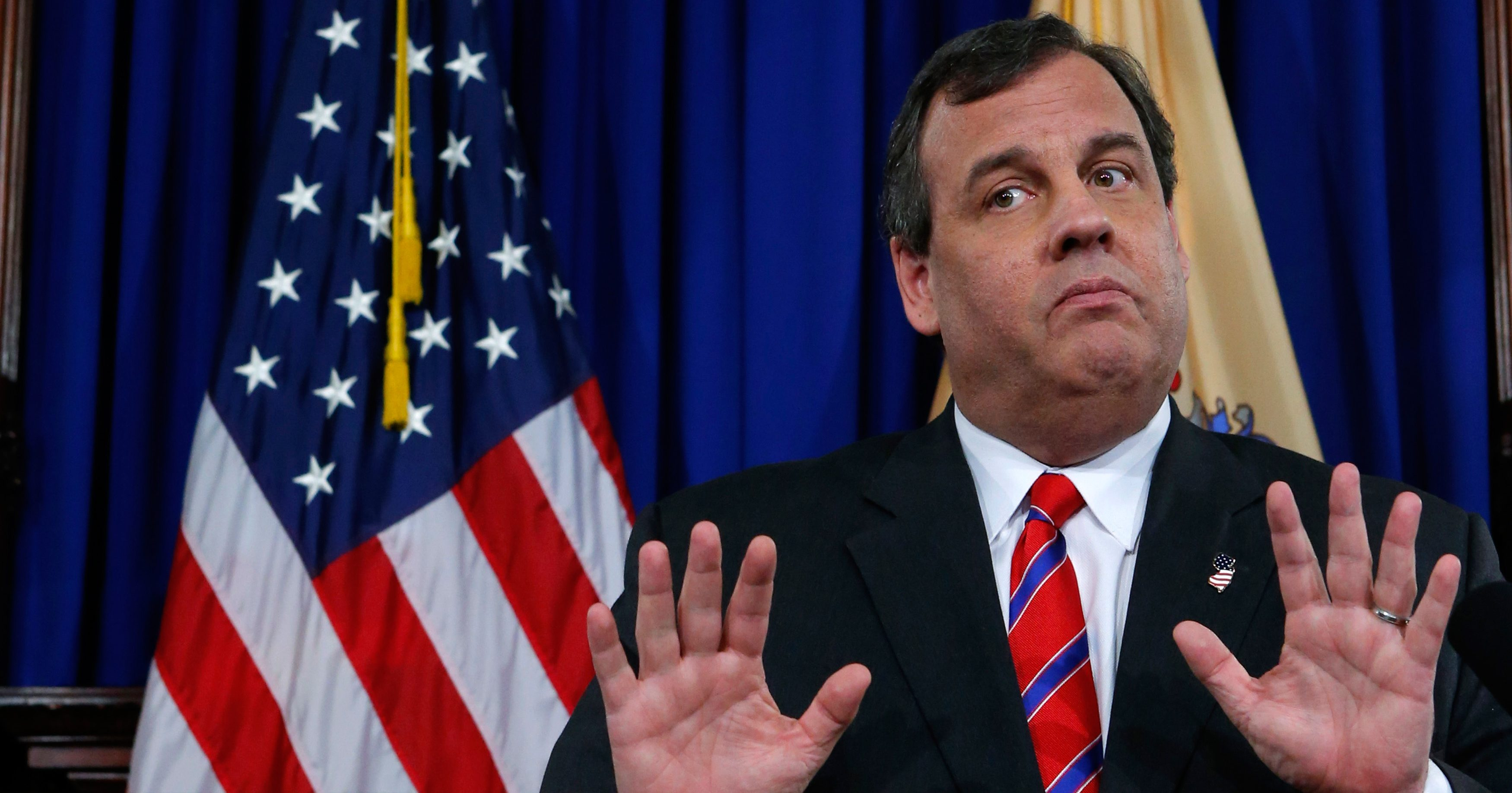 New Jersey Governor Christie reacts to a question during a news conference in Trenton REUTERS/Eduardo Munoz