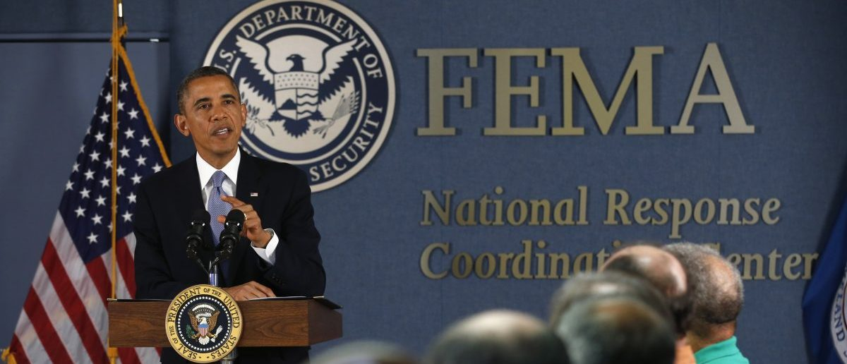 U.S. President Obama speaks about the government shutdown during a visit to the Federal Emergency Management Agency in Washington