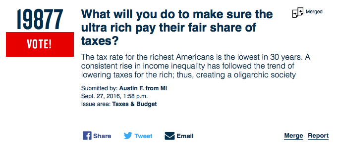 Screen capture from presidentialopenquestions.com