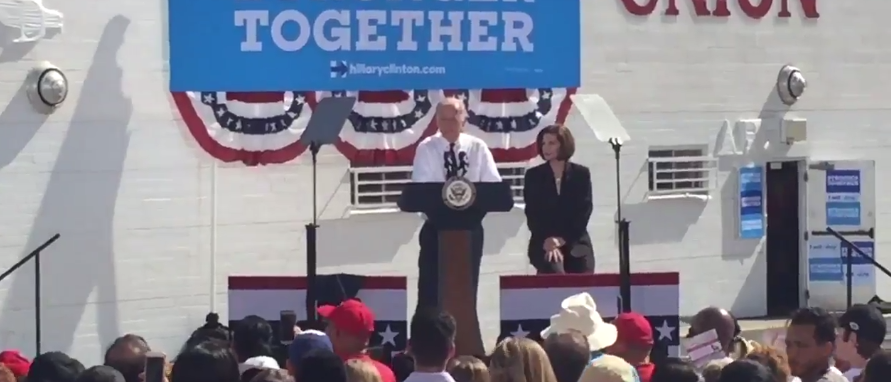 Joe Biden at campaign senate campaign rally (twitter video capture @sergionews3lv)