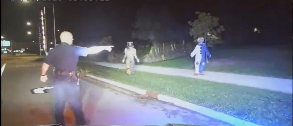 [Fox40 Screenshot - http://fox40.com/2016/10/10/creepy-clown-couple-left-4-year-old-alone-for-hours-while-scaring-neighborhood-police/]