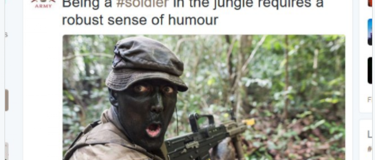The British Army tweeted an image of a soldier wearing face paint. (screenshot from Twitter)