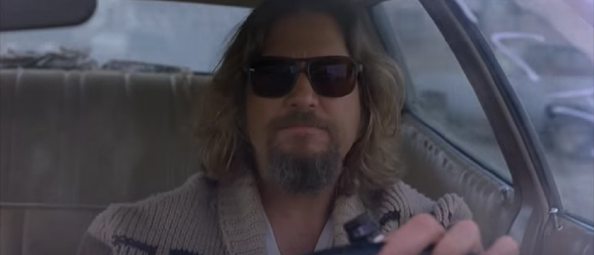 The Dude wears this awesome sweater in 'The Big Lebowski' (YouTube screenshot)