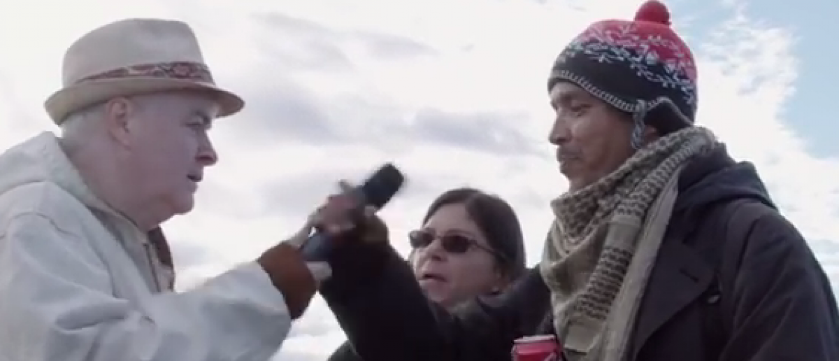 Dakota oil pipeline protester attempts to confiscate journalist Phelm McAleer gear.