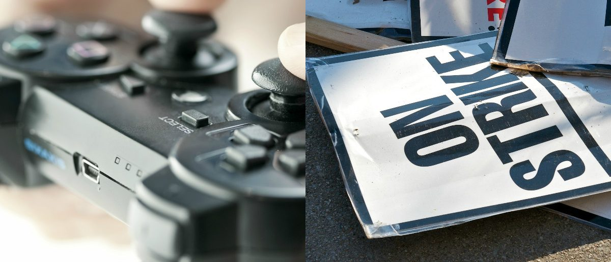 Video Game Controller: Elena Elisseeva/shutterstock.com, Strike Sign: John Kershenr/shutterstock.com