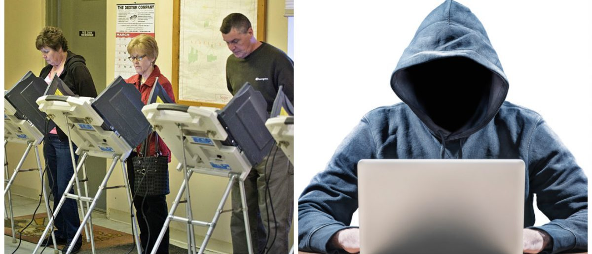 Left: Voting booth [BRENDAN SMIALOWSKI/AFP/Getty Images] Right: Hacker [Shutterstock - frank_peters]