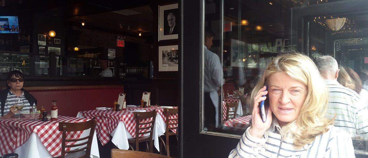 New York Senate candidate Wendy Long, takes a call during an interview at P.J. Clarke's in Manhattan, NY with The Daily Caller News Foundation.