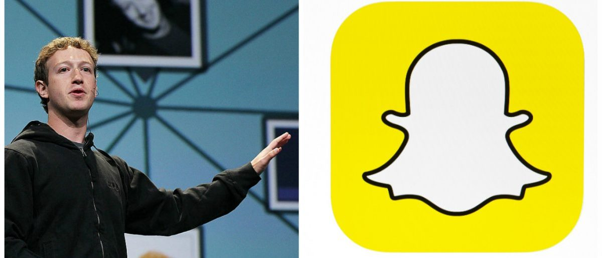 Left: SAN FRANCISCO - APRIL 21: Facebook founder and CEO Mark Zuckerberg delivers the opening keynote address at the f8 Developer Conference. [Photo by Justin Sullivan/Getty Images] Right: Snapchat logo. [Shutterstock - tanuha2001]