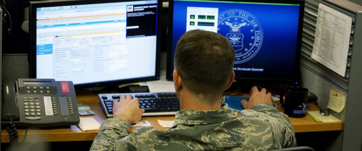 A U.S. Air Force airman works at the 561st Network Operations Squadron (NOS) at Petersen Air Force Base in Colorado Springs, Colorado July 20, 2015.  The 561st NOS executes defensive cyber operations in response to U.S. Cyber Command orders and intelligence based threats.    REUTERS/Rick Wilking.