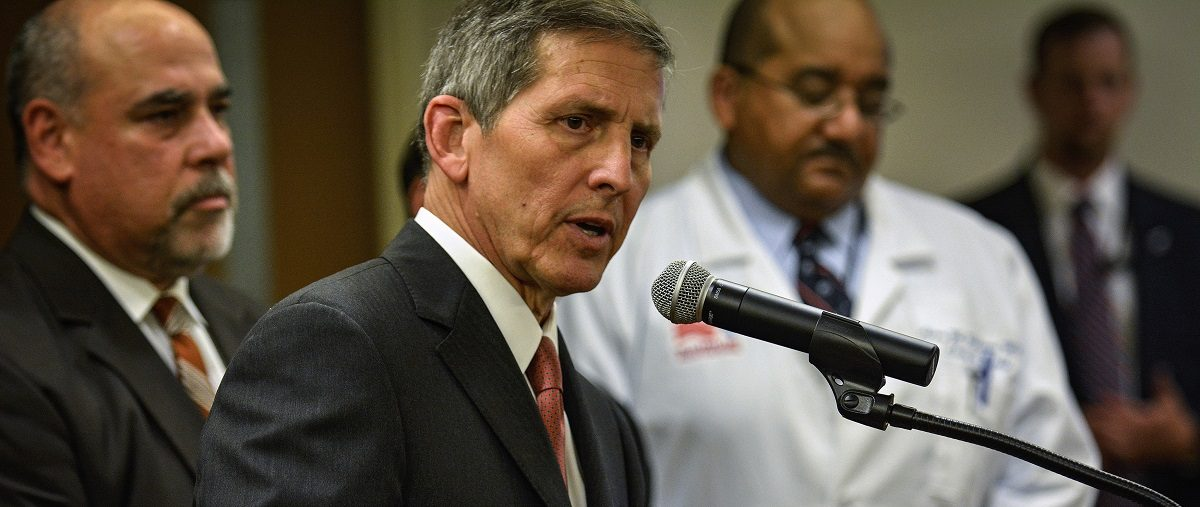 Acting Secretary of Veterans Affairs Gibson speaks to reporters during a visit to the Baltimore VA Medical Center