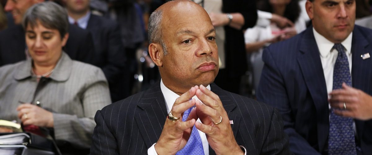 "U.S. Homeland Security Secretary Jeh Johnson prepares to testify at a Senate Appropriations hearing on ""Review of the President's Emergency Supplemental Request for Unaccompanied Children and Related Matters"", in Washington"