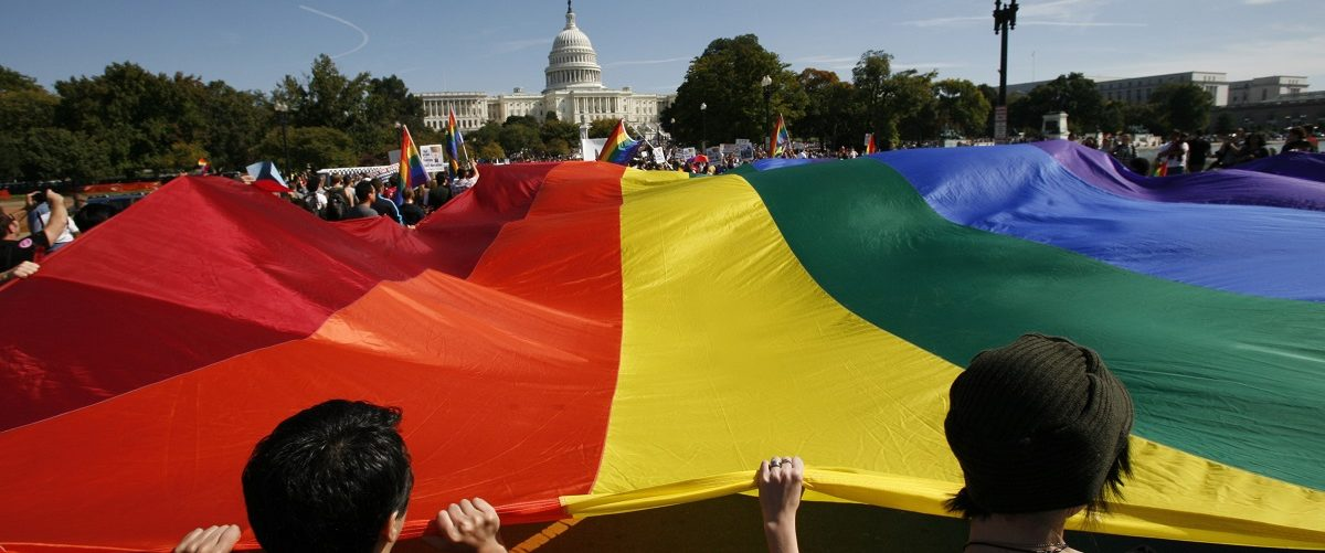 Participants carry a large rainbow flag towards the U.S. Capitol during a gay rights demonstration in Washington