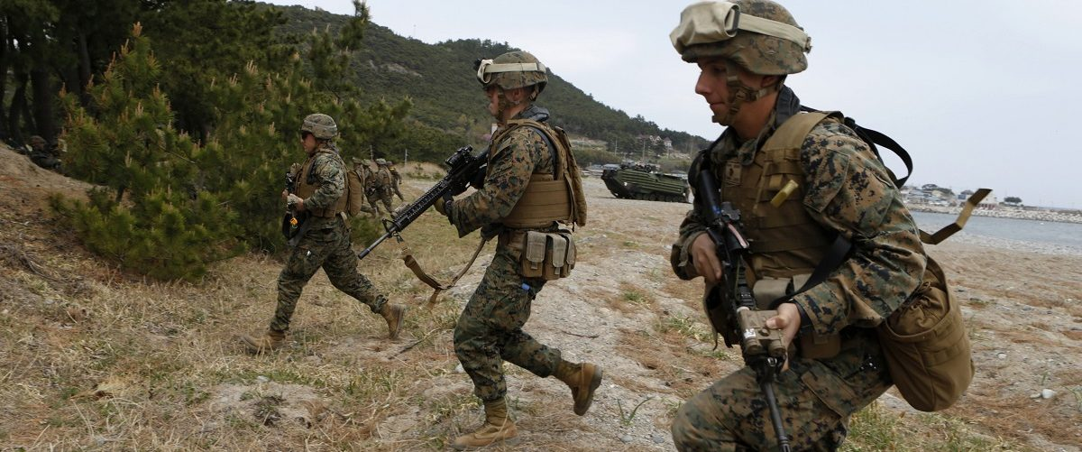 Marines of the U.S. Marine Corps, based in Japan's Okinawa, take part in a practice for a U.S.-South Korea joint landing operation drill in Pohang