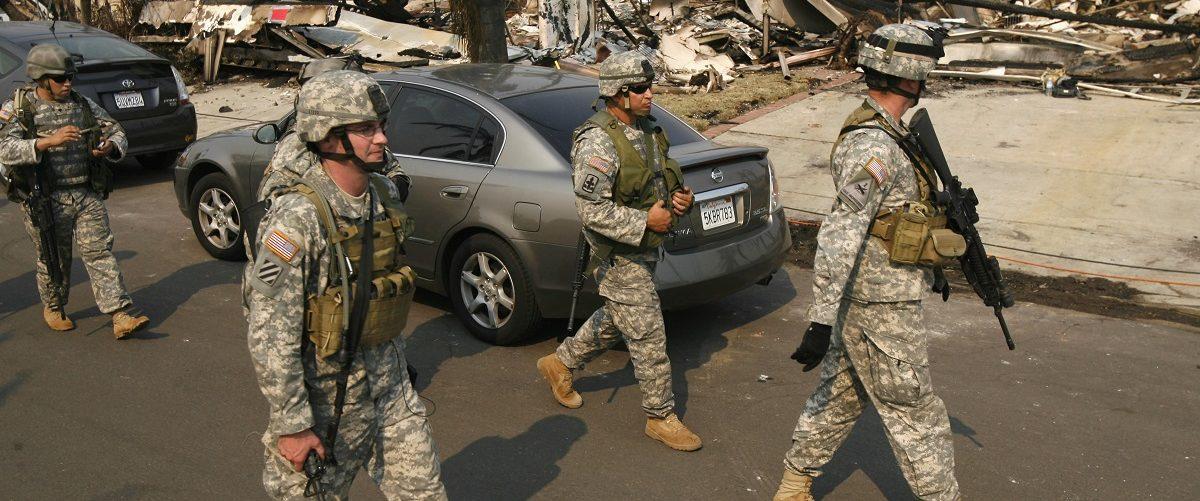 Members of the California National Guard patrol the Rancho Bernardo neighborhood of San Diego