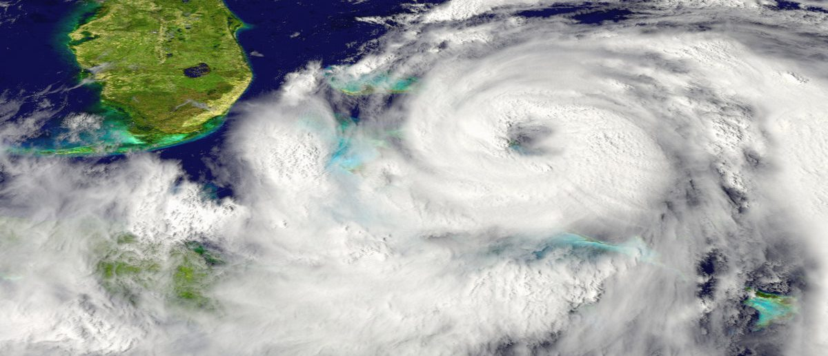 Huge hurricane approaching Florida in America. Elements of this image furnished by NASA (Shutterstock/Harvepino)