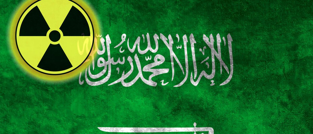 Illustration with flag on grunge background with nuclear sign - Saudi Arabia (Shutterstock/Filip Bjorkman)