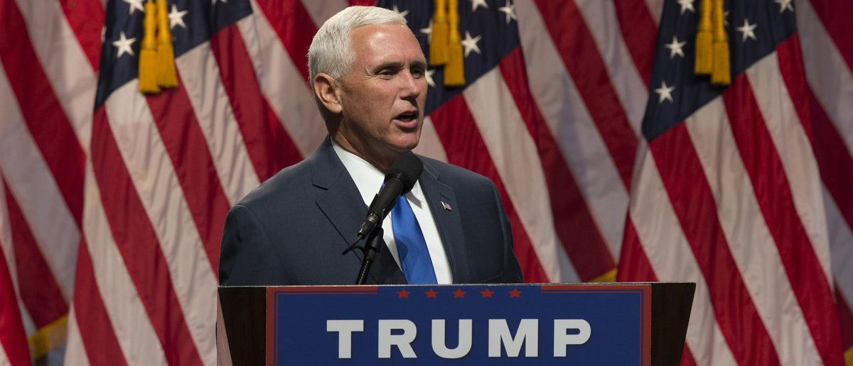 New York, NY USA - July 16, 2016: Mike Pence speaks during Donald Trump introduction Governor Mike Pence as running for vice president at Hilton hotel Midtown Manhattan (lev radin / Shutterstock.com)