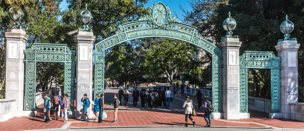 Berkeley, California - March 16, 2016: Students at the University of California pass through Sather Gate, a landmark built in 1910, connects Sproul Plaza to the center of the college campus. (Photo: Shutterstock)