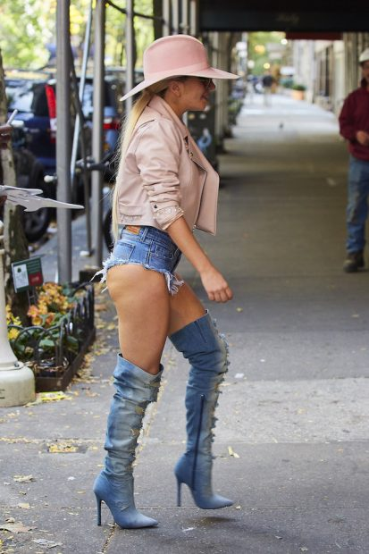 Lady Gaga spotted wearing Daisy Duke shorts and distressed denim boots while out and about in New York City <P> Pictured: Lady Gaga <B>Ref: SPL1379559 241016 </B><BR /> Picture by: J. Webber / Splash News