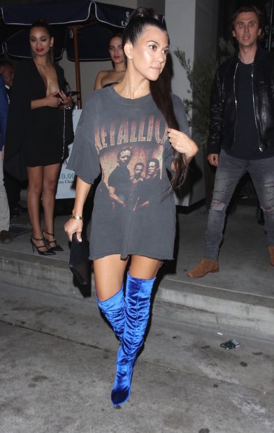 Kourtney Kardashian and Jonathan Cheban spotted leaving Catch restaurant in Los Angeles. Courtney wore blue sued thigh boots paired with a vintage Metallica T-shirt. <P> Pictured: Kourtney Kardashian and Jonathan Cheban <B>Ref: SPL1381614 271016 </B><BR /> Picture by: Bello / Splash News<