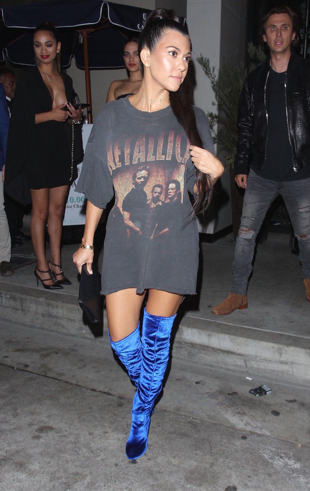 Kourtney Kardashian and Jonathan Cheban spotted leaving Catch restaurant in Los Angeles. Courtney wore blue sued thigh boots paired with a vintage Metallica T-shirt. Pictured: Kourtney Kardashian and Jonathan Cheban Ref: SPL1381614 271016 Picture by: Bello / Splash News