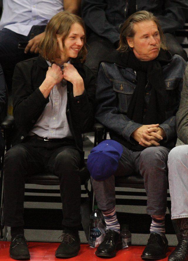 Kilmer and his son Jack courtside. (Photo: Splash News)
