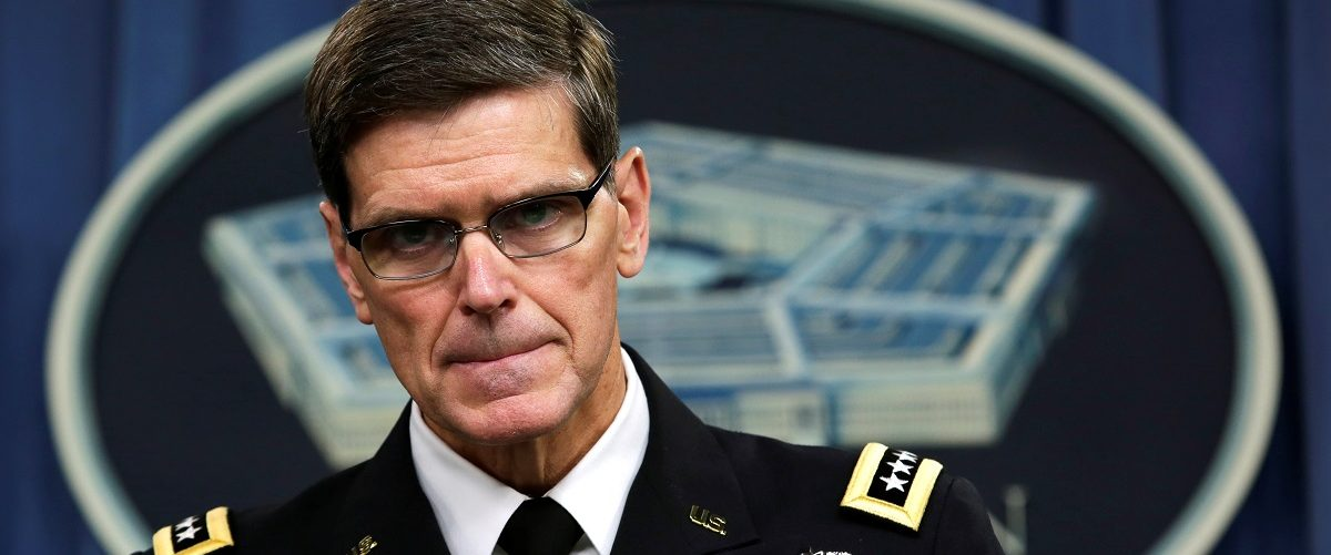 U.S. Army General Joseph Votel, commander, U.S. Central Command, briefs the media at the Pentagon in Washington